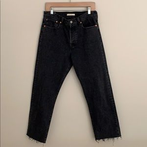 Levi black washed jeans, wedge straight, NWOT